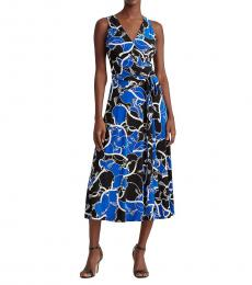 Ralph Lauren Blue Print Tie-Waist Jersey Dress