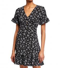 Michael Kors Black Pattern Printed Button Down Flounce Dress
