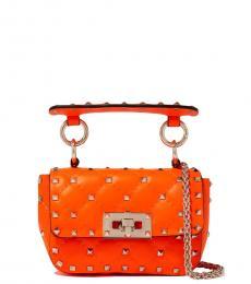 Valentino Garavani Orange Spike Micro Shoulder Bag