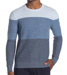 Michael Kors Blue Colorblock Crew Neck Sweater