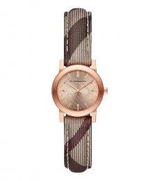 Burberry Rose Gold-Beige Haymarket Logo Watch