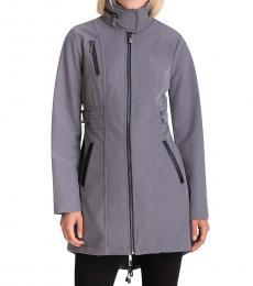 Michael Kors Malachite Grey Faux-Leather-Trim Hooded Raincoat