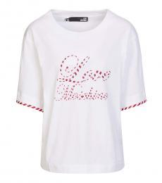 Love Moschino White Contrast Trim Logo Top