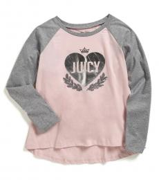 Juicy Couture Girls Pink Foil Heart T-shirt