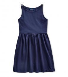 Ralph Lauren Girls Navy Ponte Roma Dress