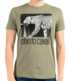 Grey Graphic Print Leopard T-Shirt
