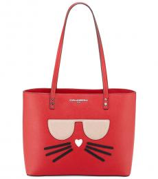 Karl Lagerfeld Crimson Maybelle Choupette Large Tote