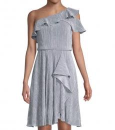 Grey Heather Ruffle One-Shoulder Dress