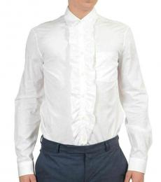 White Frill Solid Shirt