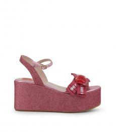 Love Moschino Pink Logo Print Glitter Wedges
