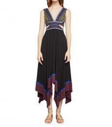 Black Embroidered Evening Dress