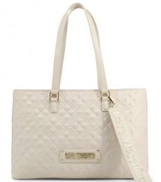 Love Moschino White Logo Strap Large Tote