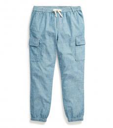 Little Girls Indigo Chambray Cargo Pants