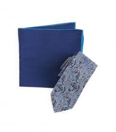 Ted Baker Light Blue Melange Paisley Tie & Pocket Square Set