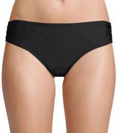 Black Ruched-Side Bikini Bottom