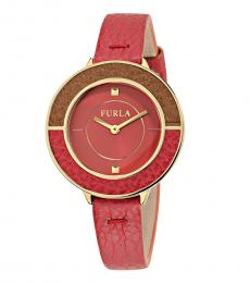 Furla Red-Gold Club Watch