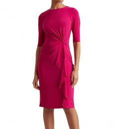Ralph Lauren Bright Fuchsia Twisted-Knot Jersey Dress