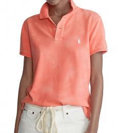 Ralph Lauren Peach Classic Fit Frayed Polo T-Shirt