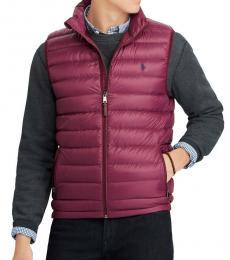 Ralph Lauren Red Wine Down Packable Puffer Vest