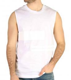 Calvin Klein White Sleeveless Mock Neck T-Shirt