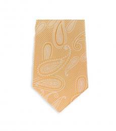 Michael Kors Yellow Modern Paisley Slim Silk Tie