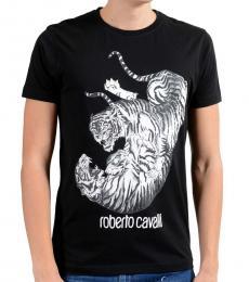 Roberto Cavalli Black Graphic Fighting Crewneck T-Shirt