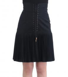 Cavalli Class Black Pleated Lacked Skirt