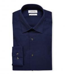 Navy Slim Fit Texture Dress Shirt