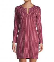 Diane Von Furstenberg Maroon Reina Star-Print Dress
