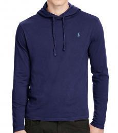 Navy Cotton Jersey Hooded T-Shirt