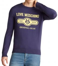 Love Moschino Blue Logo Solid Sweater