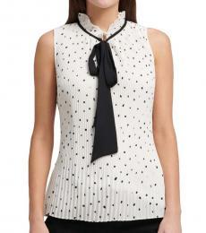 White Tie Neck Pleated Top