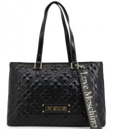 Love Moschino Black Logo Strap Large Tote
