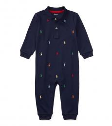 Ralph Lauren Baby Boys Navy Interlock Coverall