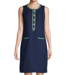Navy Blue Pearl Button Tweed Shift Dress