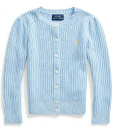 Ralph Lauren Little Girls Light Blue Heather Cardigan