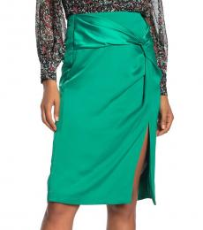 Green Winta Twist Front Satin Skirt