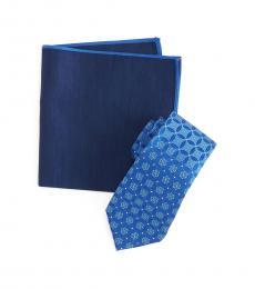 Ted Baker Blue Lattice Floral Tie & Pocket Square Set