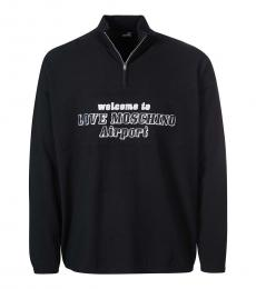 Black Quarter Zip Logo Sweater