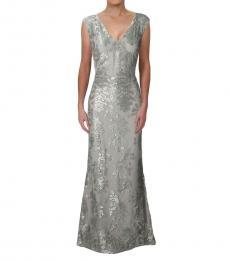 Ralph Lauren Silver Metallic Floral Evening Dress
