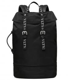 Valentino Garavani Black Logo Large Backpack