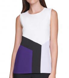 Calvin Klein White Colorblocked Shell Top