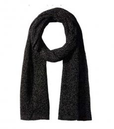 True Religion Black-Grey Two Tone Knit Scarf