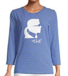 Karl Lagerfeld Blue Silhouette Stripe Long-Sleeve T-Shirt