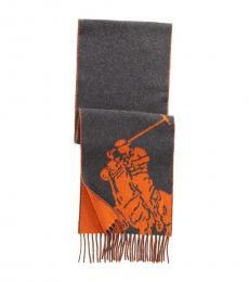 Ralph Lauren Charcoal-Dusk Orange Big Pony Scarf