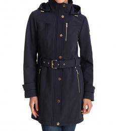 Michael Kors Navy Hooded Belted Raincoat