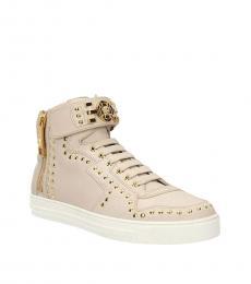 Versace Beige Studded Hi Top Sneakers