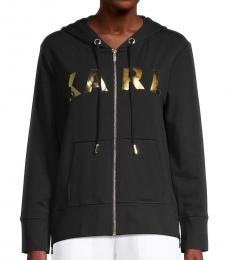 Karl Lagerfeld Black Metallic Lettered Hoodie