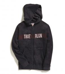 True Religion Boys Charcoal Line Logo Zip Hoodie