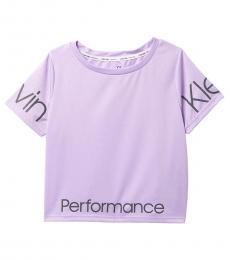 Calvin Klein Girls Purple Running Logo T-Shirt